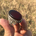Handmade Black Yemeni Aqeeq Shefat Al Abed Sterling Silver Islamic Sufi Men Ring