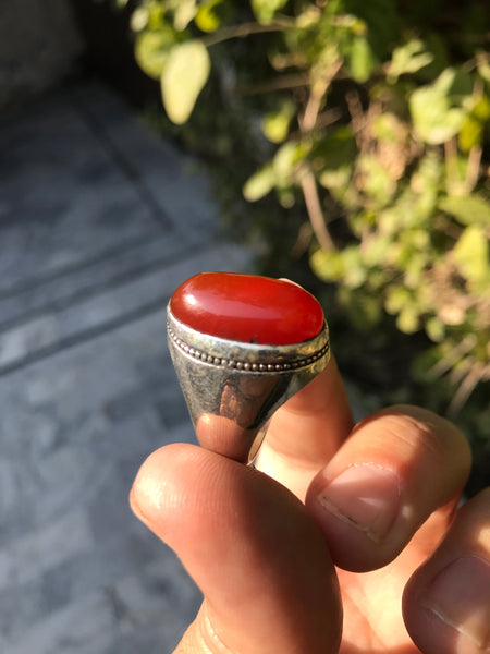 Handmade RED Yemeni Aqeeq Kabadi Akik Sterling Silver Islamic Sufi Men Ring