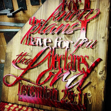 Load image into Gallery viewer, Custom Metal on Wood, Jeremiah 29:11