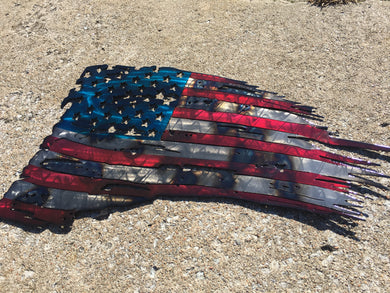 Tattered Metal Patriot Flags
