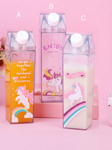 Unicorn Print Clear Water Bottle 1pc