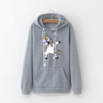 women hoodies Pop print Unicorn casual loose sweatshirt