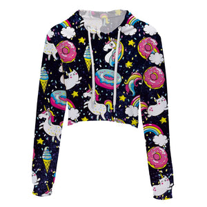 Women Fashion womens tops crop top hoodies  unicorn print
