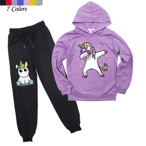 Kids Boys Girls Cute Unicorn Hoodies Pants Suit