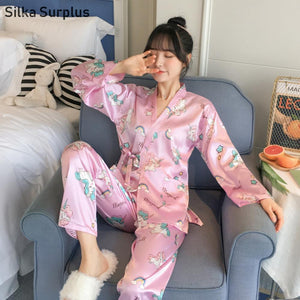 silk Kimono Pajama Sets for Women Unicorn Print Sleepwear