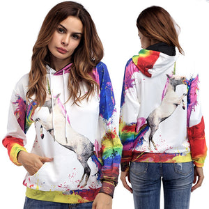 Fashion Women Unicorn Printed Hoodies