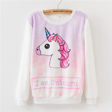 Winter Cartoon Hoodies For Women Unicorn