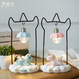 Novelty Cartoon Unicorn Resin LED Night Light
