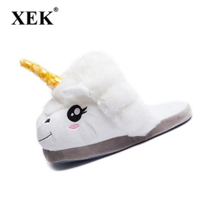 artoon Unicorn Warm Cotton Plush Slippers
