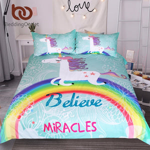 Unicorn Bedding Set Believe Miracles Cartoon Single Bed Duvet Cover Animal for Kids Girls 3pcs Rainbow Bedspreads