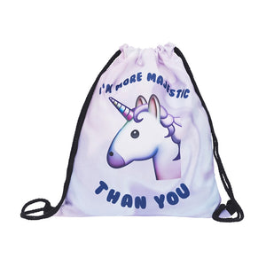 Unicorn Print Drawstring Backpack Shoulder Bags Satchel Pouch for Women Men
