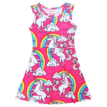 Little Girls Cartoon Unicorn Dress Summer Baby Girl Sleeveless Cute Girl Casual Party Dresses For Girl Vest Clothing
