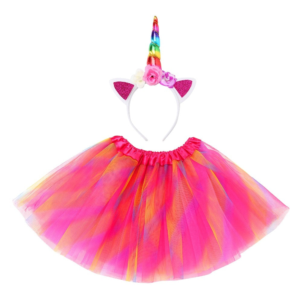 Girls Party Dress with Unicorn Headband