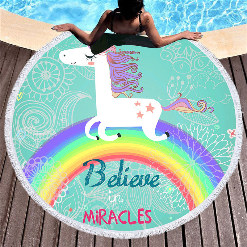 Microfiber Round Beach Towel Rainbow Unicorn Tassel Tapestry Yoga Mat Cartoon 150cm