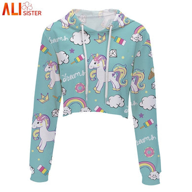 Unicorn Print Cute Hoodies Sweatshirt Women