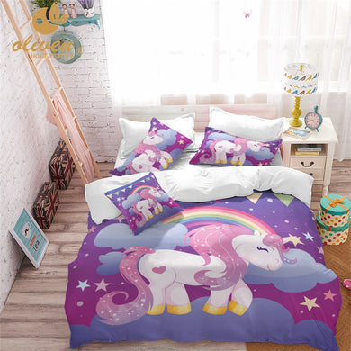 Unicorn Bedding Set Purple Designer Duvet Cover Cartoon Rainbow Animal Printed Bed Line for Girl Princess Room 3pcs