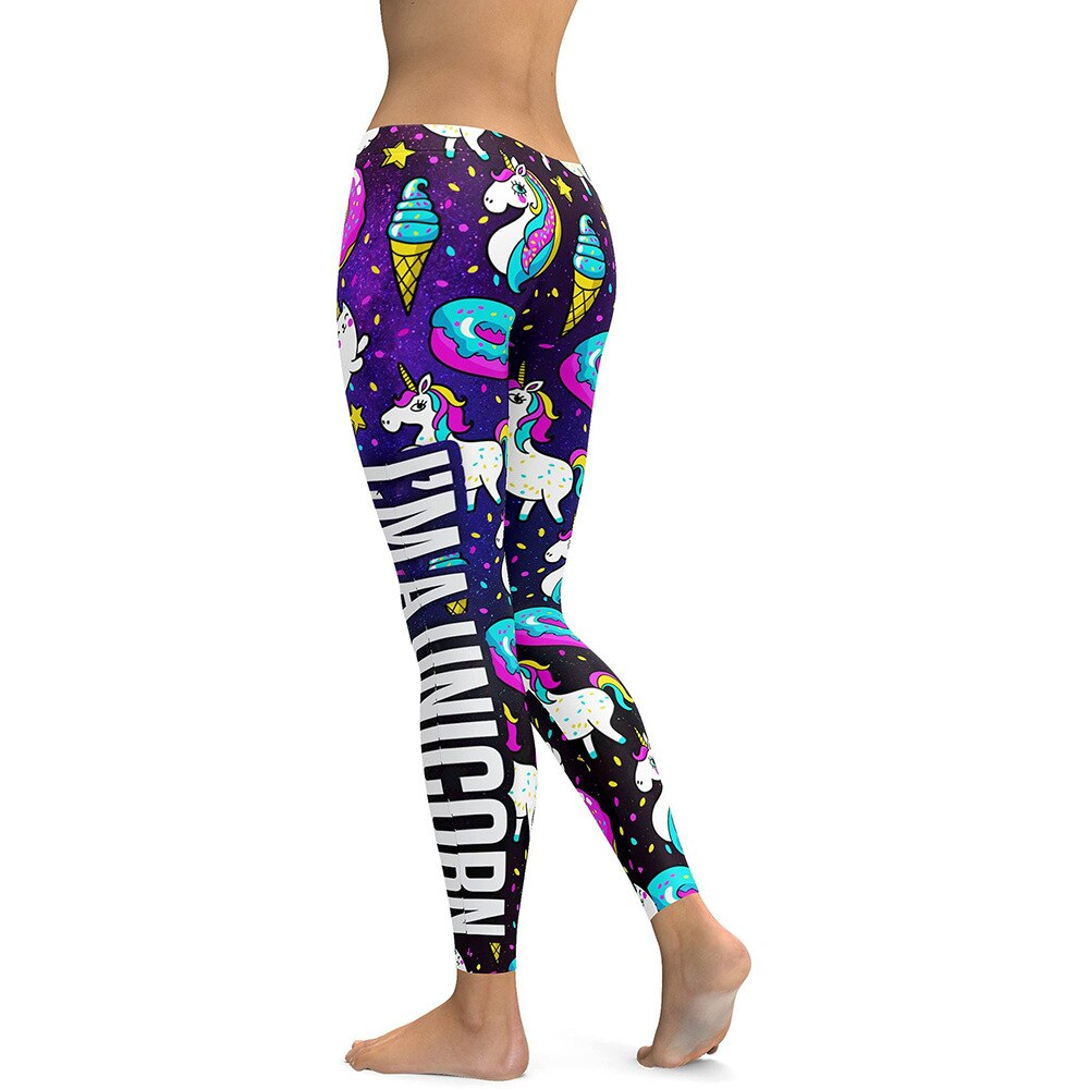 Unicorn Leggings Women Ice Cream Rainbow