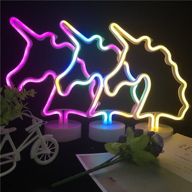 Unicorn LED Neon Night Light AA Battery Powered
