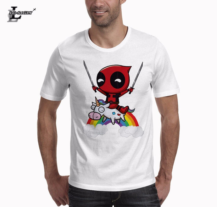Riding A Unicorn Mens T Shirt Fashion Deadpool Cartoon Printed T-Shirt