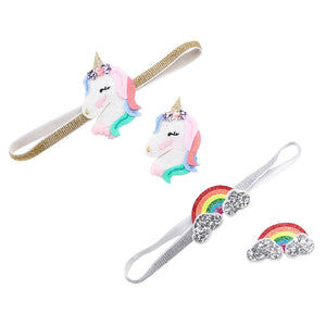 4PCS Kids Hair Bows Unicorn Rainbow Hairpins