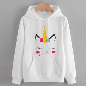 Womens Unicorn Print Long Sleeve Hoodie Sweatshirt Jumper Hooded Pullover Tops