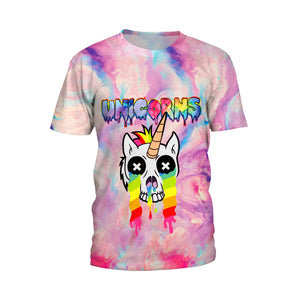 Fashion Unicorn Rainbow Print T-shirt for Teenage and Couples