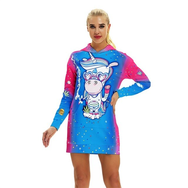 Women Unicorn Printed Hoody
