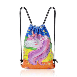 Unicorn Cartoon Sequin Sports Bag Drawstring Beam Backpack Hanging Outdoor Backpack
