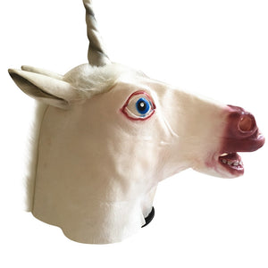 Creepy Unicorn Head Latex Mask Halloween Costume Theater Prank Prop Crazy Masks