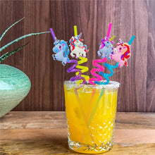 4pcs Creative Cartoon Unicorn PVC Drinking Straws Props Celebration Carnival Party Supplies