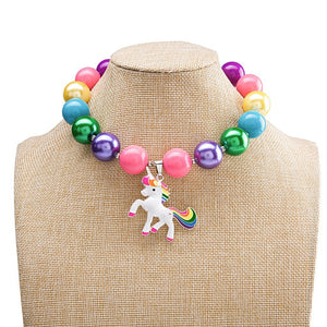 Unicorn Pendant Necklace Bubblegum Bead