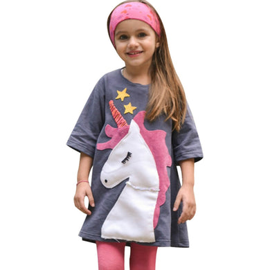 Girls Dress Unicorn Patch Embroidery Dress