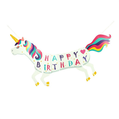 HAPPY BIRTHDAY Unicorn Flags Bunting Unicorn Photo Props Colorful Flags Banner Kids Birthday Party Supplies Decorations for Outdoor Lawn Garden Home