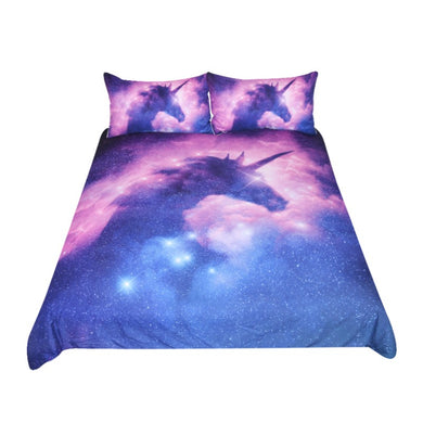 Galaxy Unicorn Bedding Set Kids Girls Psychedelic Space Duvet Cover 3 Piece Pink Purple Sparkly Unicorn Bedspread