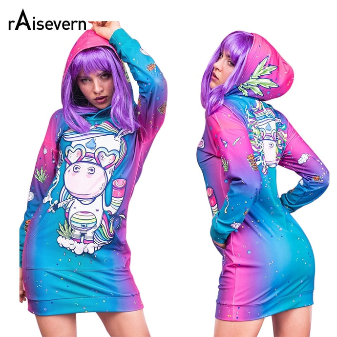 Cartoon Unicorn Print Pocket Hoodie Dress