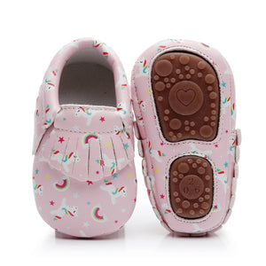 Cute Unicorn printing hard sole toddler first walker moccasins
