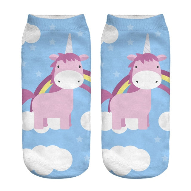 Socks Women Print Unicorn Straight Socks