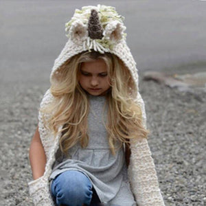 Unicorn Hooded Scarf Hoodie Cowl Crochet Knitted Beanie Hats Kids Gloves Cape