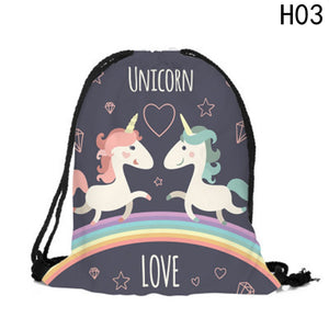 Fashion Multicolor Portable Cartoon Unicorn Shoes Bag
