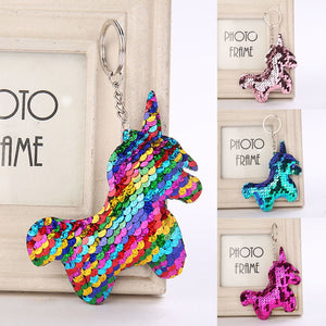 Cute Unicorn Sequin Pom Pom Key Pendant