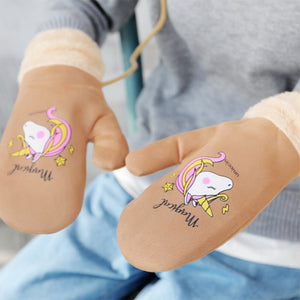 Women's Gloves Winter Outdoor Gloves Unicorn Printing Gloves