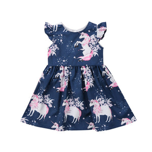 Cartoon Unicorn Printing Dress Summer Sleeveless