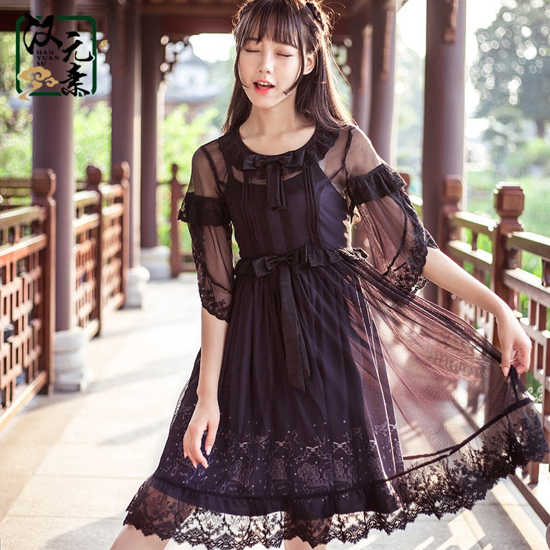 Sweet Casual Lolita Flying Unicorn Printed Short Dress with Crochet Mesh Overlay