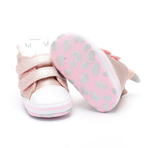 Fashion Pink Unicorn Baby Girl First Walkers
