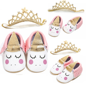Unicorn Newborn Baby Girl Soft Crib Shoes Infants Anti-slip Sneaker Prewalker 0-18M Baby Shoes