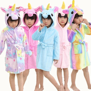 Children Rainbow Unicorn Hooded Bathrobes