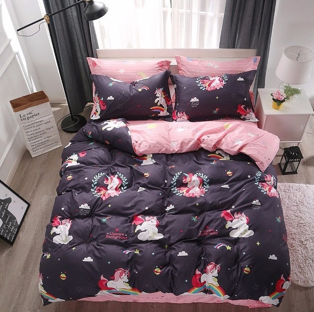 Cartoon Unicorn Bedding Sets Colorful Rainbow and Cloud Pattern