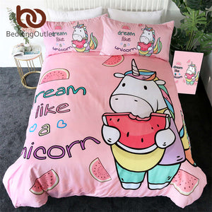 Unicorn Bedding Set Cartoon Duvet Cover With Pillowcases