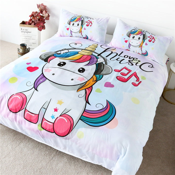 Cute Unicorn Bedding Set Rainbow Hair