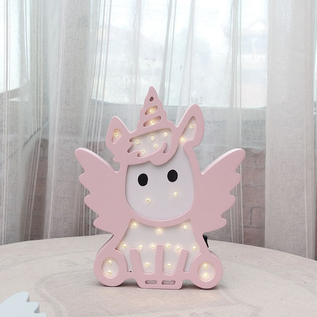 Pink Blue Color Unicorn Design Night Light